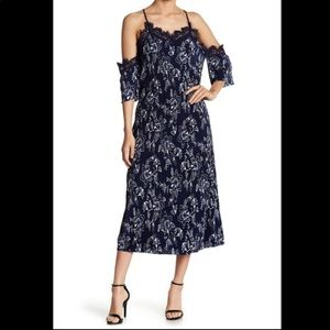 Moon Ricer Micro Pleated Cold Shoulder Dress